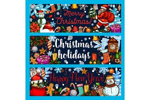 Christmas winter holidays vector sketch banners