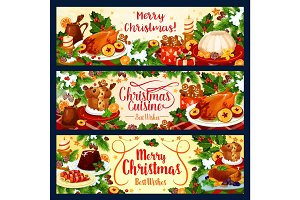 Merry Christmas vector dinner greeting banners