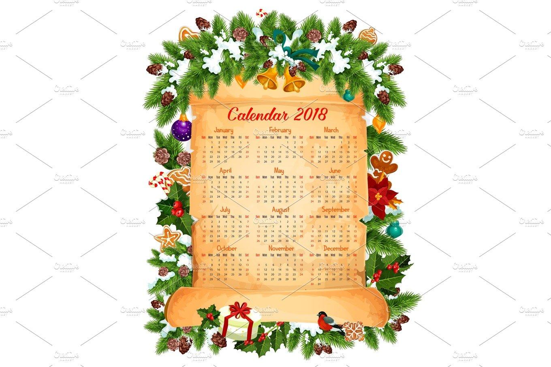 Christmas New Year 2018 Calendar Vector Design