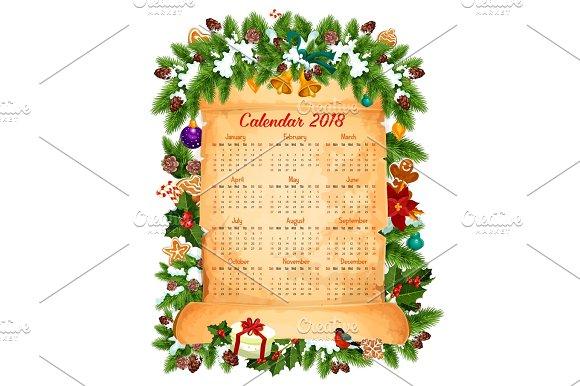 christmas new year 2018 calendar vector design illustrations