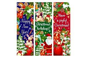 Christmas tree, New Year gift and Santa banner
