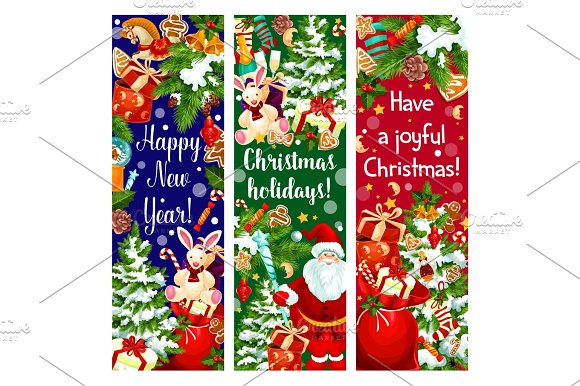 Christmas Tree New Year Gift And Santa Banner