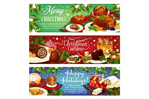 Christmas dinner vector greeting banners