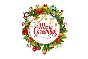 Merry Christmas wreath vector greeting card