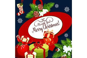 Merry Christmas vector holiday wish greeting card
