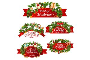 Christmas vector greeting ribbon decoration icons