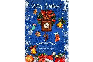 Merry Christmas clock vector sketch greeting card