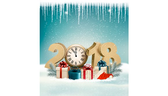 happy new year 2018 background illustrations