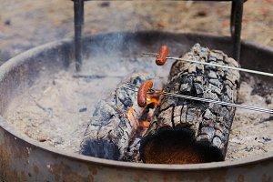 Campfire Hotdog cookout