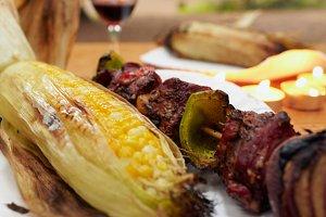 Campsite Grilled corn & Shishkebob