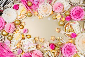 Golden & pink Christmas decoration