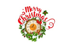 Merry Christmas greeting vector clock icon