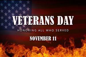 USA Veterans Day banner. Honoring all who served.