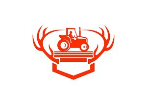 White Tail Deer Antler Tractor Retro