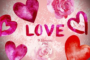 LOVE - Watercolor Clip Art Set