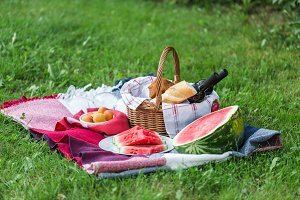 Summer picnic with watermelon