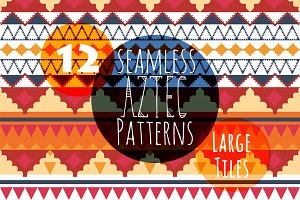 Seamless Aztec Tribal Patterns