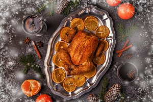 chicken with Christmas decoration