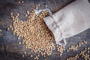 Brown dried lentils in a burlap bag