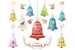 Watercolor Christmas Bell Set