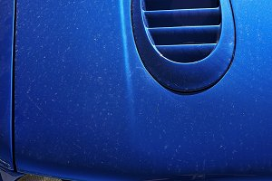 Electric blue.Sports car detail.