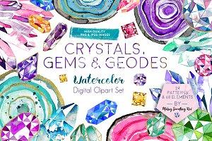 Crystals, Gems & Geodes Clipart Set