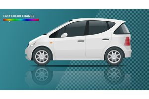 Small Compact Electric vehicle or hybrid car on transparent. Eco-friendly hi-tech auto. Easy color change. Template vector isolated View side