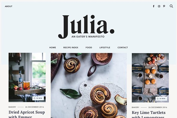 WordPress Blog Themes: Pixelgrade - Julia - Food Blogging Theme