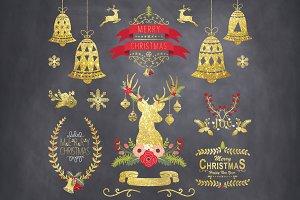 Gold Glitter Chalkboard Christmas