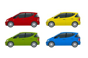 Small Compact Electric vehicle or hybrid cars. Eco-friendly hi-tech auto. Easy color change. Template vector isolated on white View side