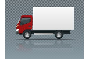 Isometric Cargo Truck transportation on transparent. Fast delivery or logistic transport. Easy color change. Template vector isolated on white View side