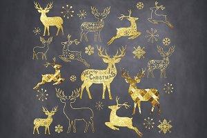Gold Glitter Chalkboard Reindeer