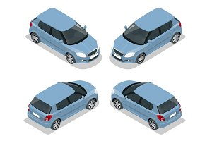 Hatchback car. Flat 3d vector isometric illustration. High quality city transport icon.