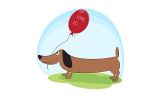 Greeting  card, cute dog dachshund with balloon.