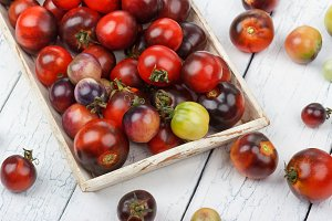 Different tomatoes in the white tray on the wooden background