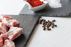 Ingredients for beef stew with olive