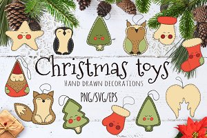 Christmas toys Hand drawn set