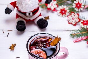 mulled wine in a pink mug