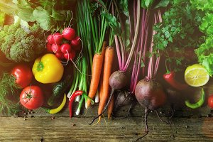 Vegetables on wooden background. Bio healthy organic food, herbs and spices. Raw and vegetarian concept. Ingredients. Banner