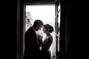 Silhouettes of happy newlyweds