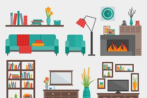 Flat Furniture Interior Icon Set