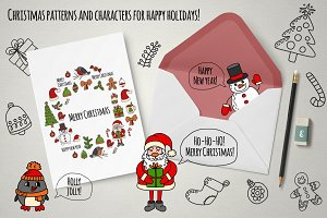 Doodle Christmas patterns