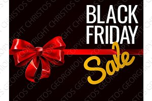 Black Friday Sale Red Gift Bow Sign