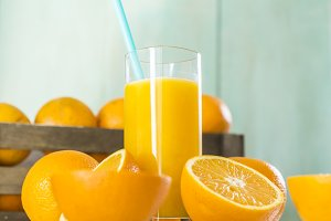 Glass of orange juice.