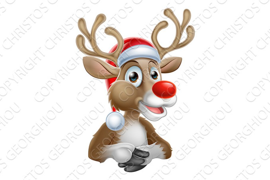 f808aae118c5e Christmas Reindeer Cartoon With Santa Hat ~ Illustrations ~ Creative ...