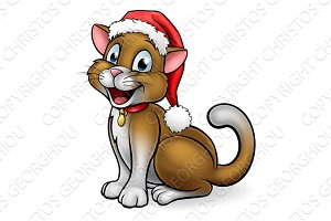 Christmas Santa Hat Cat