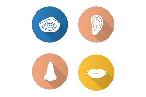 Facial body parts flat design long shadow glyph icons set