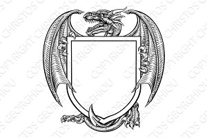 Dragon Crest Heraldic Coat of Arms Shield Emblem