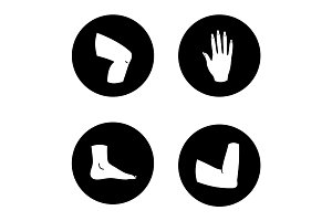 Human body parts glyph icons set