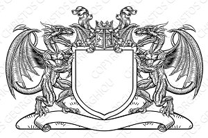 Dragon Shield Heraldic Crest Coat of Arms Emblem